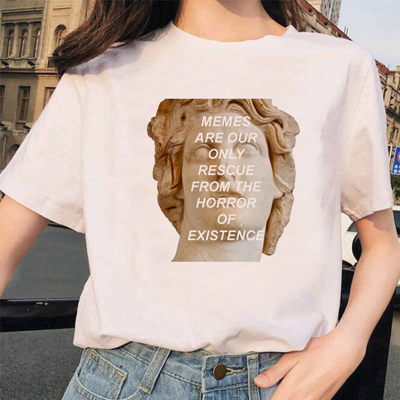 New Michelangelo T Shirt Ulzzang Hands Femme Vintage Women Harajuku Tshirt 90s Aesthetic Female Aesthetic Grunge Graphic T-shirt