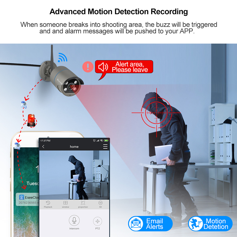 Image 5 - Techage 8CH 1080P Wireless Camera NVR System 4 Array LED 2MP Wifi 2 Way Audio Sound Video Outdoor CCTV Security Surveillance KitSurveillance System   -