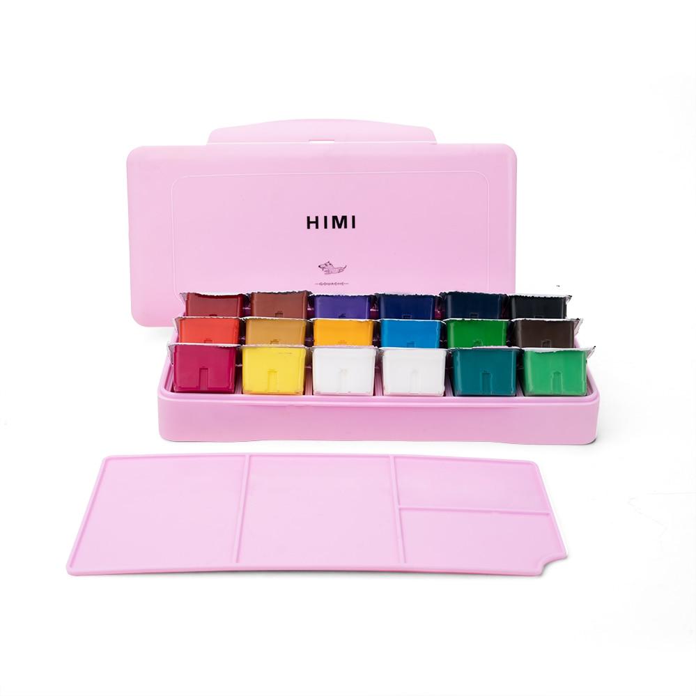 MIYA Gouache Watercolor Paint Set 18 Colors * 30ml Unique Jelly Cup Design Portable Case With Palette For Artists Students Paint