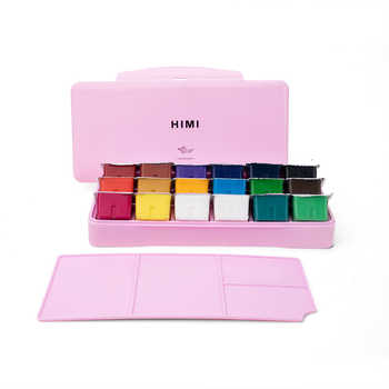 MIYA Gouache watercolor Paint Set 18 Colors * 30ml Unique Jelly Cup Design Portable Case with Palette for Artists Students Paint - Category 🛒 All Category