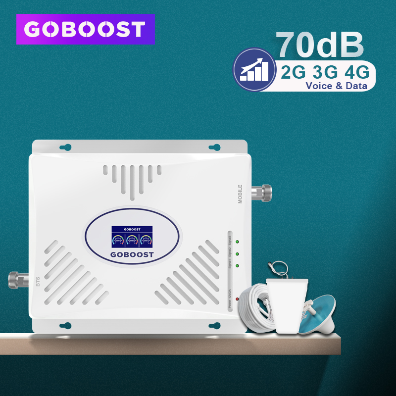 GOBOOST 70dB GSM Repeater 2G 3G 4G Signal Booster 900 1800 2100 Tri Band Cellular Amplifier LTE 2600 Mobile Phone Amplifier Set