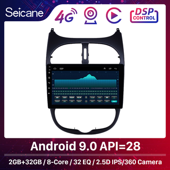 Seicane 9'' Audio AUX GPS Autoradio HD Touchscreen Android 9.0/9.1 Car Radio for Peugeot 206 2000-2016 WIFI support Carplay DAB+ image