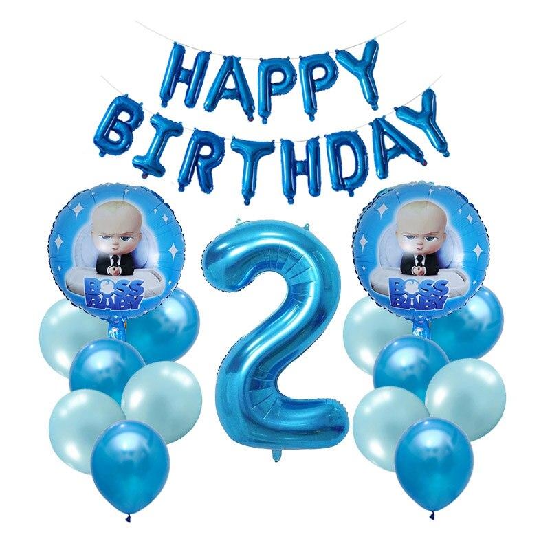 1 conjunto chefe balão de alumínio do bebê, balões de alumínio populares dos desenhos animados, fontes da festa de aniversário das crianças, menino menina 1st 2st brinquedo de aniversário