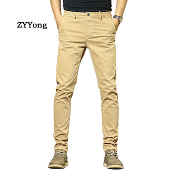 New Men Overalls Cotton Slightly Elastic Comfortable Slim Streetwear Casual Cargo Pants Fashion Solid Color Khaki Black Trousers