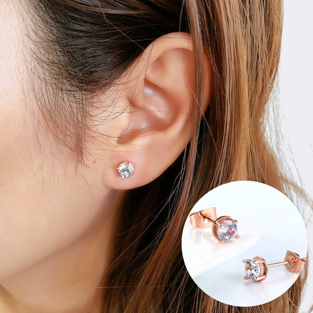 ZHOUYANG Stud Earrings For Women Simple Classic 5mm Cubic Zirconia RoseGold Color / Silver Color Fashion Jewelry Gift E859 E860