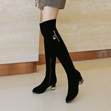 купить Plus Size 34-43 Fashion 2020 New Hot Women Boots Autumn Winter Ladies Boots Shoe Over The Knee Thigh High Black Suede Long Boots дешево
