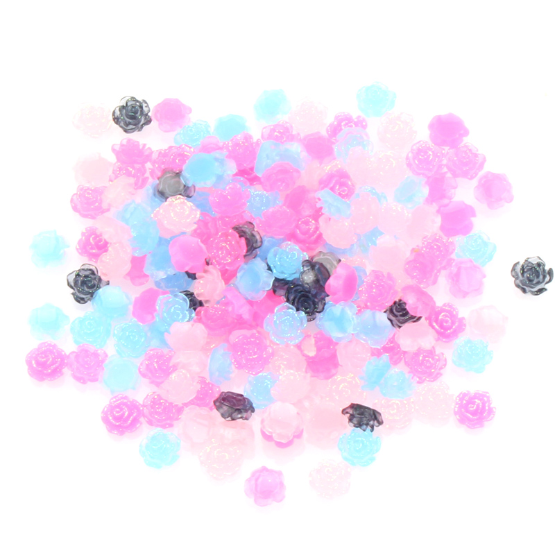 100Pcs 8mm Mixed Resin Flowers Cabochon Flatback Decoration Crafts Embellishments For Scrapbooking DIY Accessories