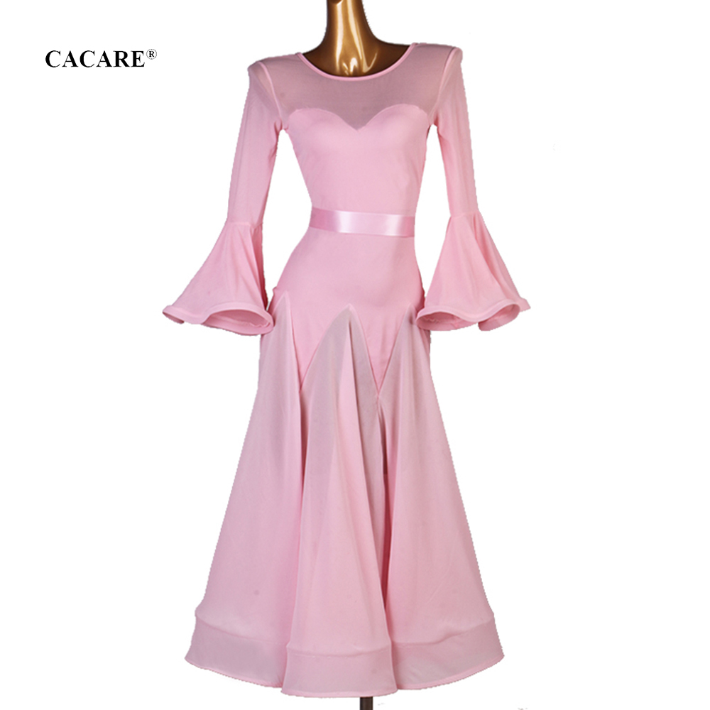 CACARE Ballroom Dance Competition Dresses Waltz Dress Standard Dance Dresses D0127 With Waist Belt Mesh Bust Big Hem