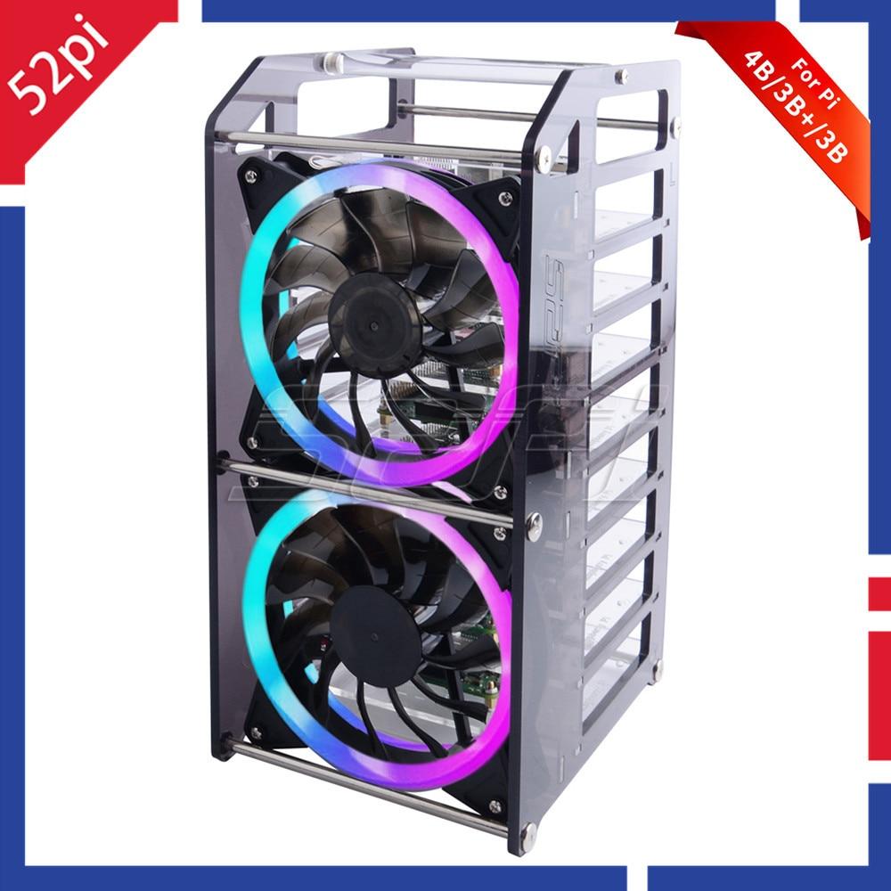 52Pi Rack Tower 8 Layer Acrylic Cluster Case Large Cooling Fan LED RGB Light For Raspberry Pi 4 B / 3 B + / 3 B / Jetson Nano
