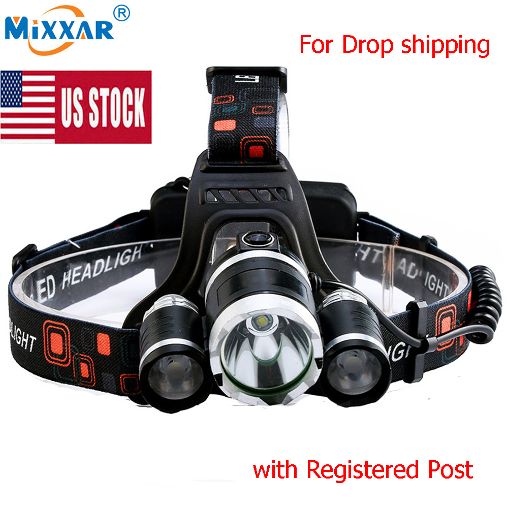 US Stock 8000LM 4 Mode LED Headlamp Headlight Energy Saving Outdoor Sports Camping Fishing Head Lamp LED Flashlights Light