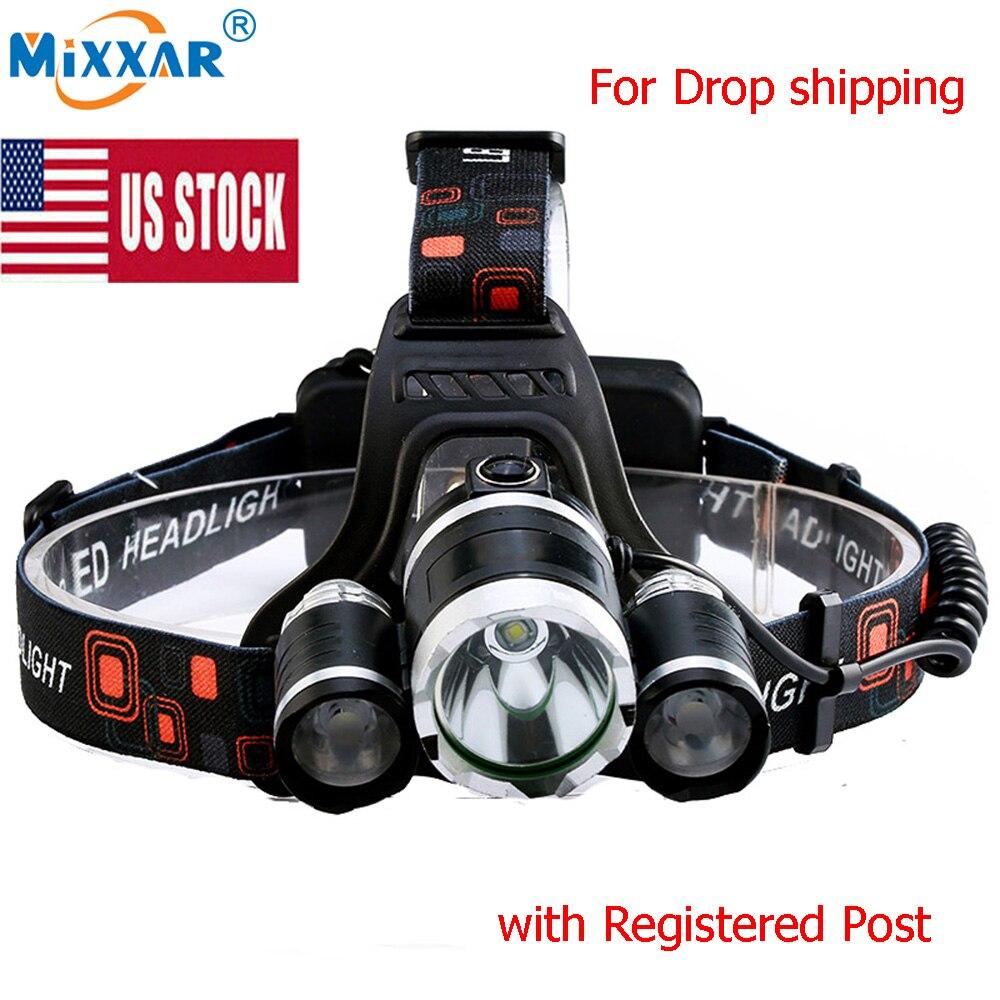 US Stock 9000LM 4 Mode LED Headlamp Headlight Energy Saving Outdoor Sports Camping Fishing Head Lamp LED Flashlights Light