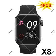 Montre connectée X8 pour IOS Pk X7, Bracelet avec appels Bluetooth, moniteur dactivité physique et de fréquence cardiaque, 4 pièces