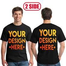 Camiseta casual de manga curta de algodão diy 36 cores seu próprio design para dois lados logotipo/imagem personalizado tshirt