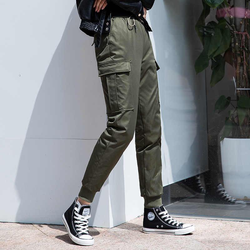 Shuchan 2019 Invierno Abajo Pantalones Mujer Estilo Safari Longitud Completa Elastico Alta Cintura Cargo Pantalones Grueso Calido Alta Calidad Pantalones Y Pantalones Capri Aliexpress