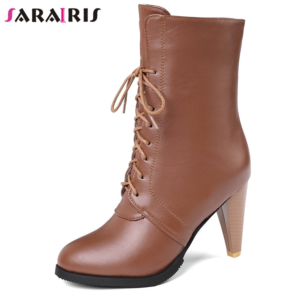 SARAIRIS Plus Size 34 45 New lace up High Top Booties Ladies Mature Spike Heels Ankle Boots Women High Heels OL Shoes Woman