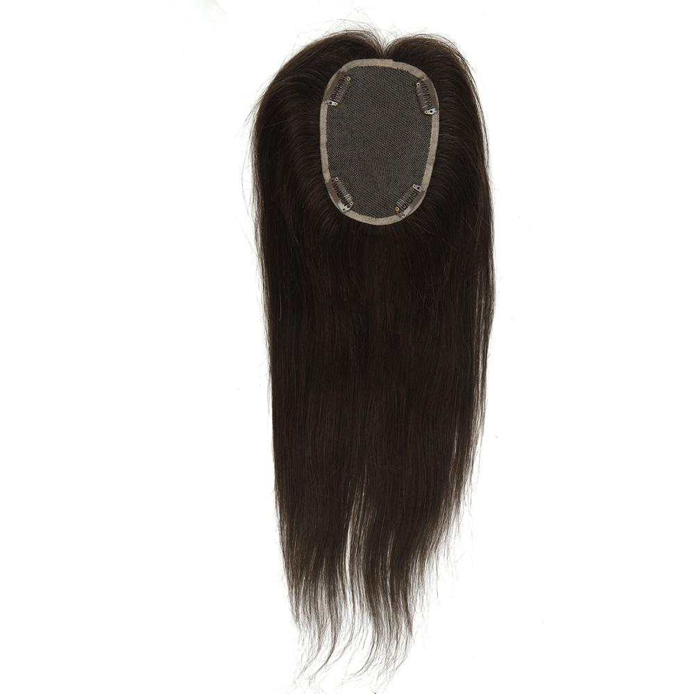 K.S WIGS 14inch 10*13cm Topper Wigs 180% Density 100% Remy Human Hair Toupee Hairpieces For Women 60g