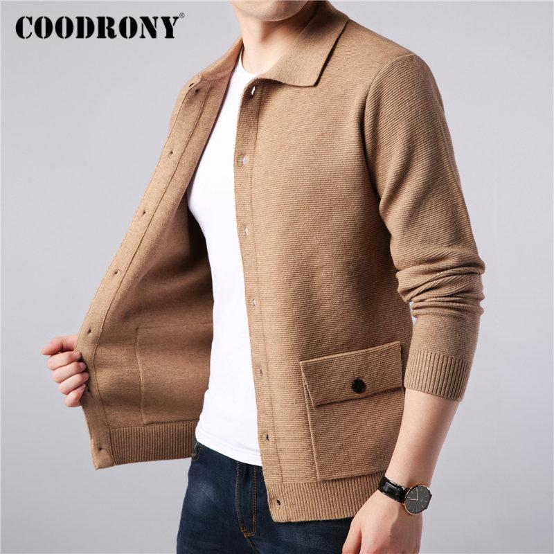 COODRONY Brand Sweater Men Streetwear Fashion Sweater Coat Men Autumn Winter Warm Cashmere Woolen Cardigan Men With Pocket 91104