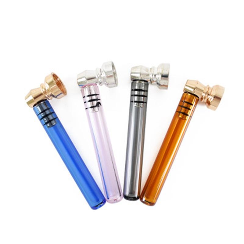 Купить мини стекло курительная трубка прозрачная ручка 93 мм с металлическая