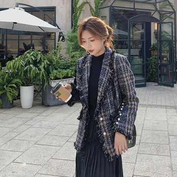 цена Retro Plaid Ladies Blazer Blue Stylish Casual Loose Suit Jacket Blazer Dames Korean Party Spring Autumn Women Blazer MM60NXZ онлайн в 2017 году