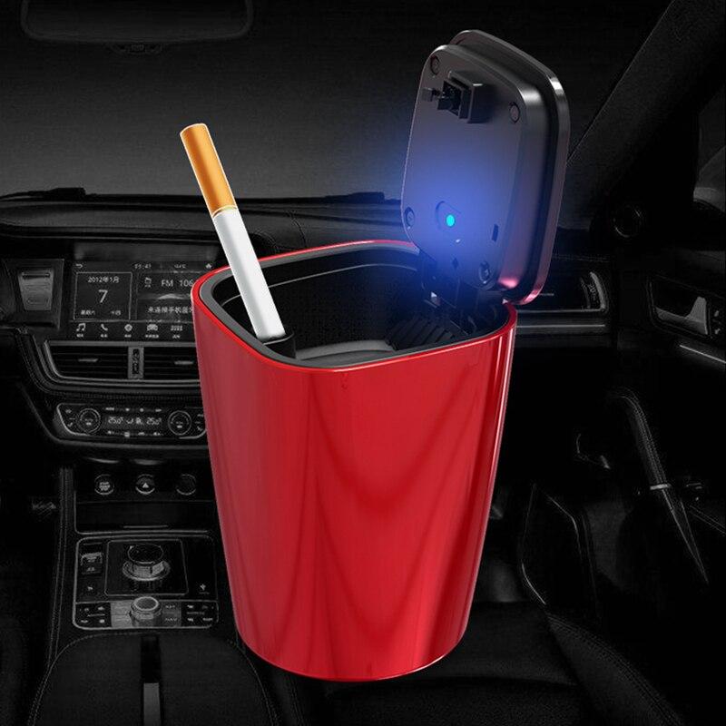 LED Light Car Ashtray Home Office Smokeless Ashtray Portable Car Styling Universal Size Auto Cigarette Flame Retardant Ash tray