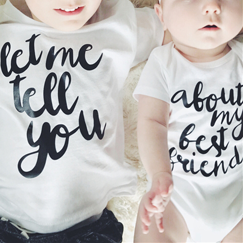 Tiny Cottons 2019 Let Me Tell You about My Best Friend Letters Print Baby Bodysuit Brother Sister Matching Baby Outfits image