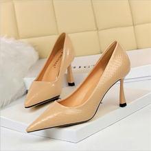 Bigtree/весенние туфли лодочки из лакированной кожи на каблуке;