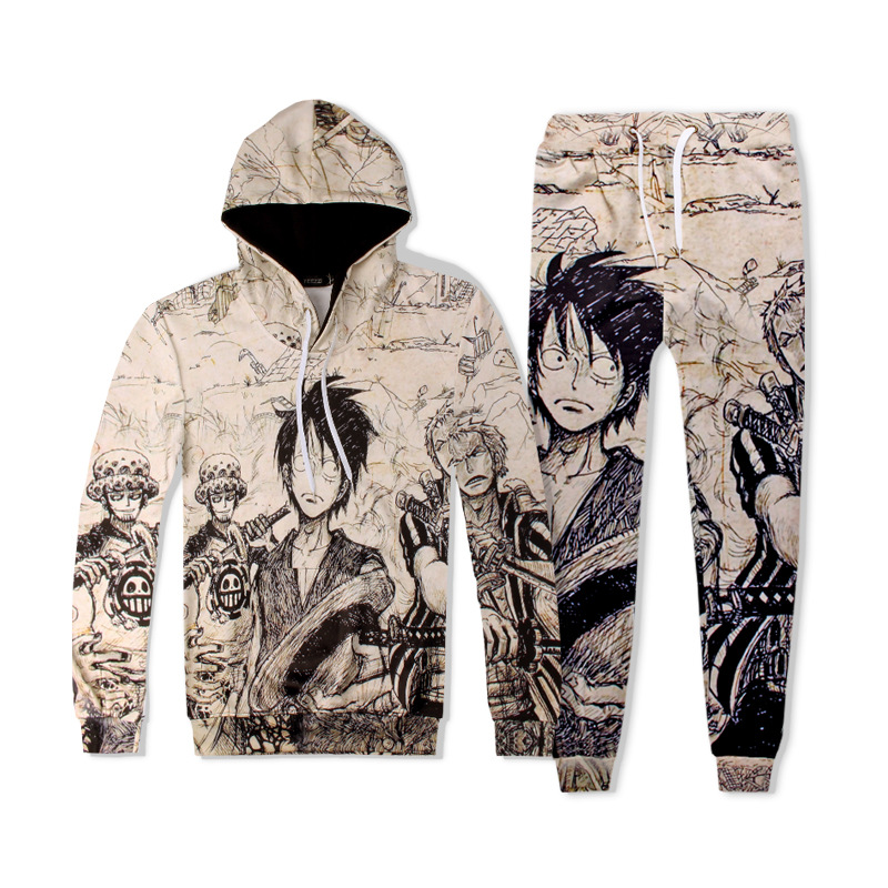 One Piece Cartoon Autumn And Winter New Style European And American-Style Animated Cartoon Printed Pants Hooded Hooded