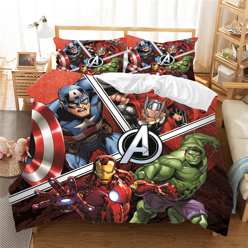 3D Queen King Size Bedding Set The Avengers Captain America Super Hero  Duvet Cover Set Bedcloth With Pillowcase Home Textiles