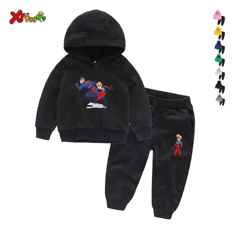 Children Henry Danger Sets 100% Cotton Kids Hoodies Boy Outfit Sports Suit 2-9T Boys Girls Suits Cotton 2T-9T Child Clothes