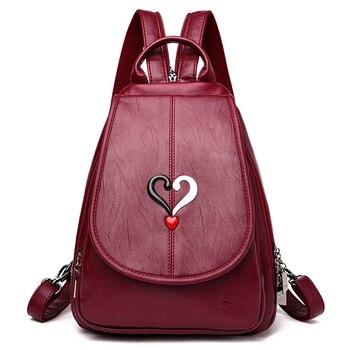 MANHAN Fashion Backpack Women 2020 Anti Theft Female High Quality PU Leather Solid School