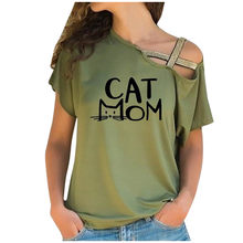 New Arrival Cross Bandage Cat Mom Letters Print Cotton T-Shirt For Women Casual Plus Size Tshirt Streetwear Tumblr Harajuku Tops(China)