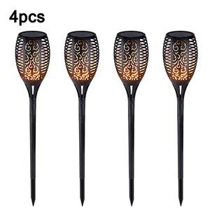 1/2/4pcs LED Solar Flame Lamp Flickering Outdoor IP65 Waterproof Landscape Yard Garden Light Lighting Torch Light