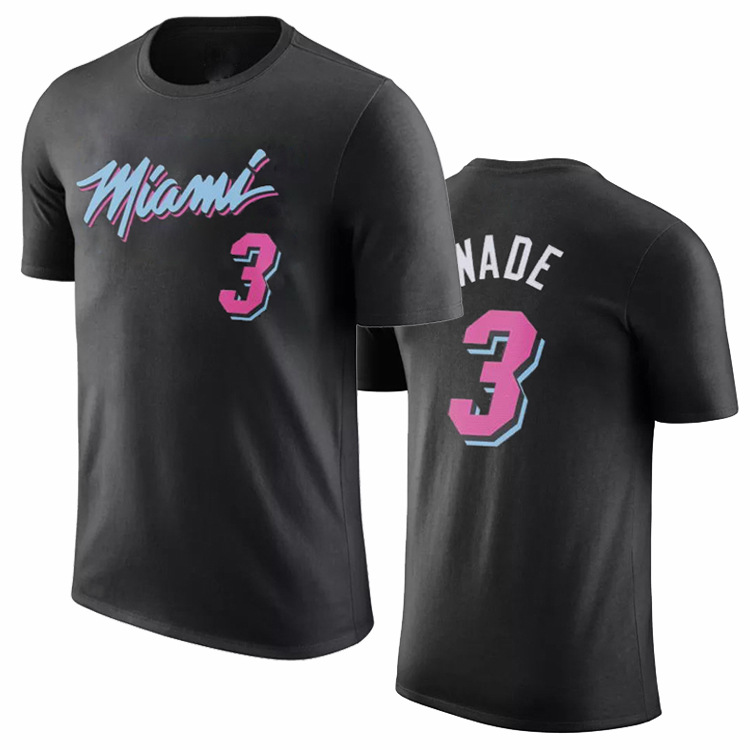 NBA Heat New Style Black And White With Pattern Pink City Edition 3 Wade 21 White Edge Basketball Short Sleeve T-shirt