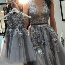 Mother Daughter Celebration Dresses Birthday Party Dresses Gray Color Gray Floral Lace Beading Celebration Mother Daughter Dress