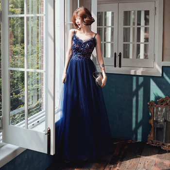 AE562 Sparkle Sequined Evening Dresses Long A-Line V-neck Elegant Evening Gowns Abendkleider Lang 2019