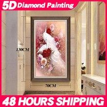 Meian especial em forma de diamante bordado china animal pavão 5d pintura diamante ponto cruz 3d mosaico decoração