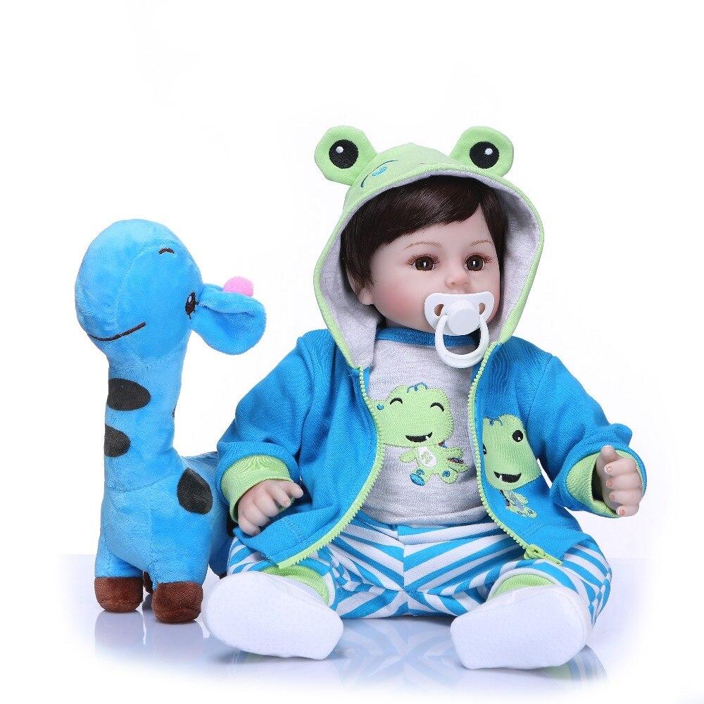 NPK 19''poupées Reborn faites à la main en Silicone vinyle adorable enfant en bas âge bébé Bonecas garçon enfant bebes poupée reborn menina de silicone