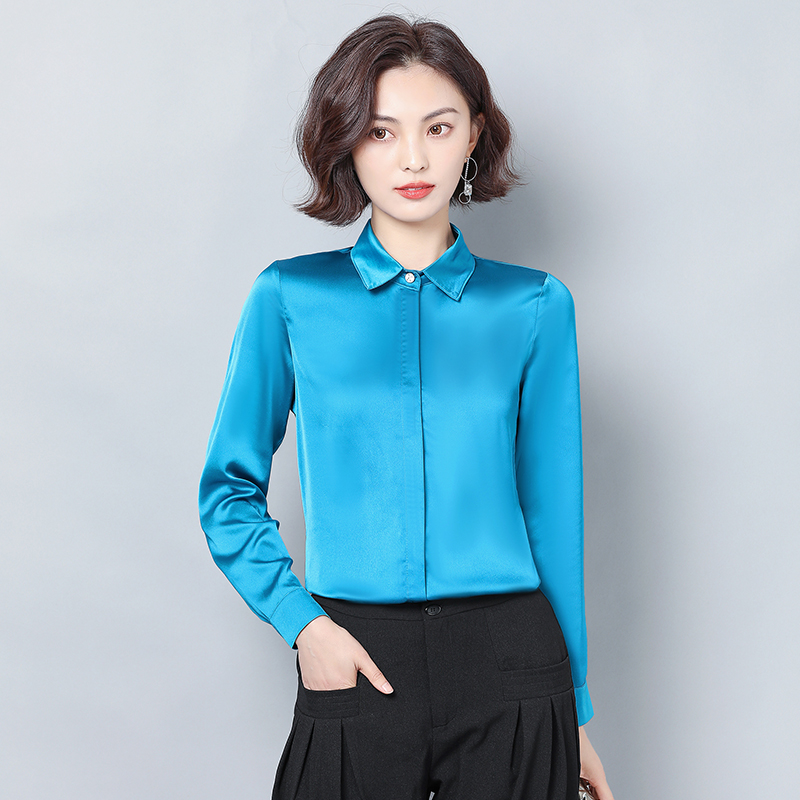 Spring Korean Fashion Silk Women Blouses Satin Solid Womens Tops And Blouses Plus Size XXXL Pink Long Sleeve Women Shirts
