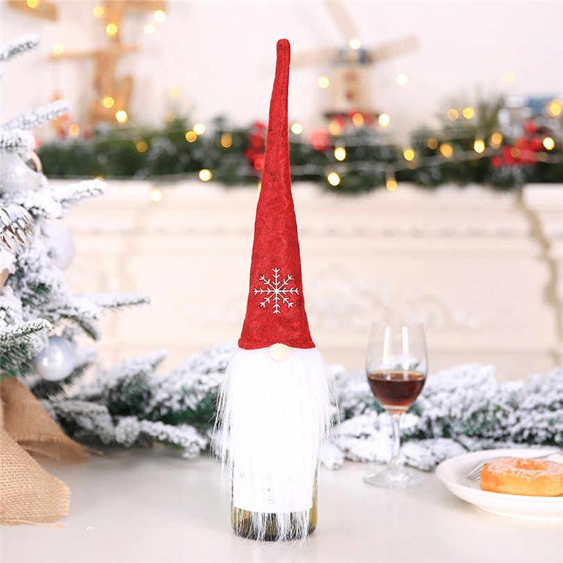 3 шт. Нетканая ткань рождественское шампанское красное вино бутылочные крышки одеваются украшения Рождественские безликие куклы висячие ноги #4AU26