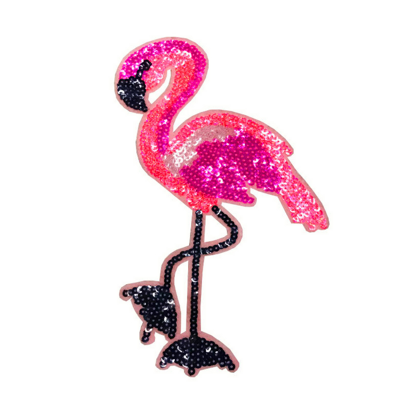 New Sequin Flamingo Large Embroidery Patch Patch Decorative Clothing Shoes And Hats Bag Clothing Accessories