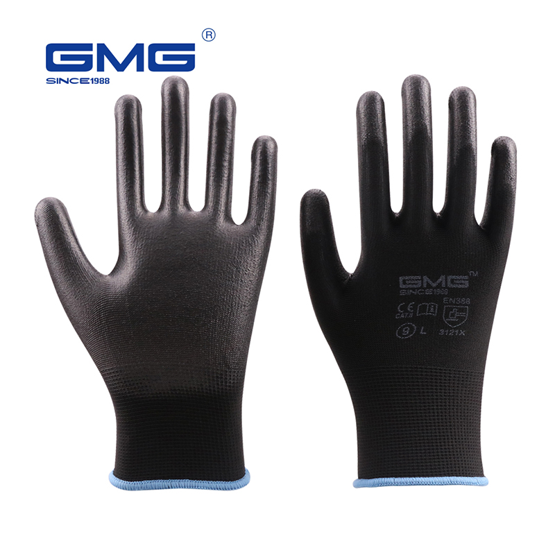 Hot Sale GMG CE Certificated EN388 Black Red White Polyester White Black PU Safety Work Gloves Mechanical Black Gloves