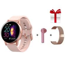 Frauen Smart Uhr + Gurt + Kopfhörer Smart Uhr Wasserdicht Heart Rate Monitor 1,22 zoll Farbe Bildschirm Fitness Tracker für samsung Mi