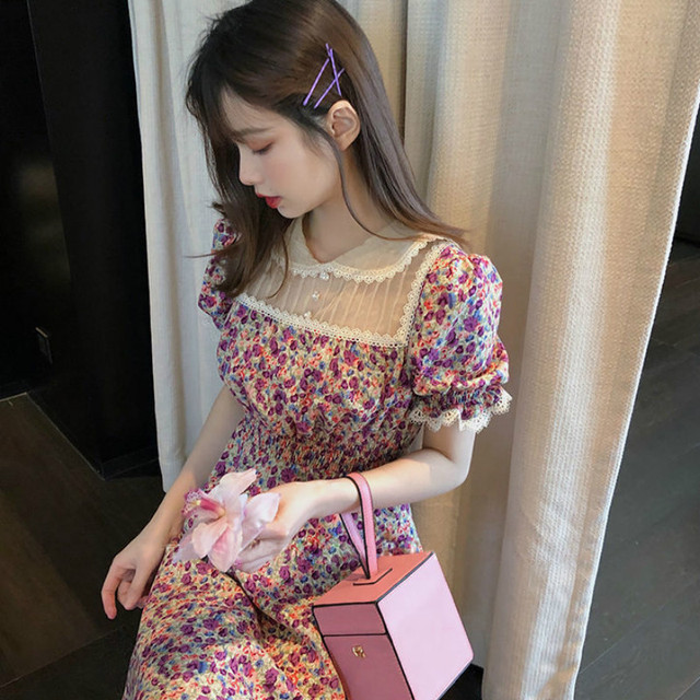 Dress Women Floral Retro Vintage Summer Peter Pan Collar Empire Womens Lace Vestido Holiday A-line Chic Casual Ladies Sundress