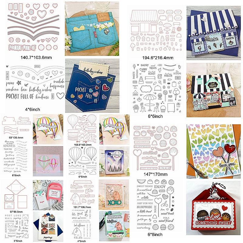 House Pocket Balloon Heart Square Words Sentence Pig Furniture Food Metal Cutting Dies Match Silicone Clear Stamps Make Card DIY