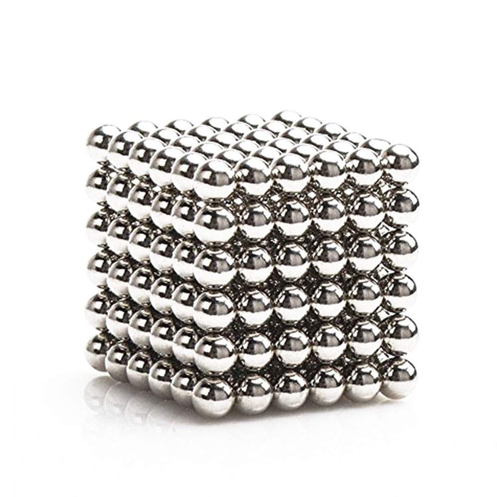 5MM 216 Pieces Of Magnet Sculpture Building Blocks Toy Intelligence Learning - Office Toys And Adult Decompression (shiny Silver
