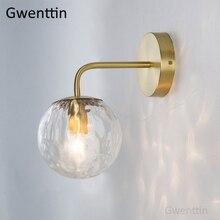 İskandinav altın cam duvar lambası banyo yatak odası merdiven lambası ayna ışıkları ev duvar aplik aydınlatma armatürleri endüstriyel dekor