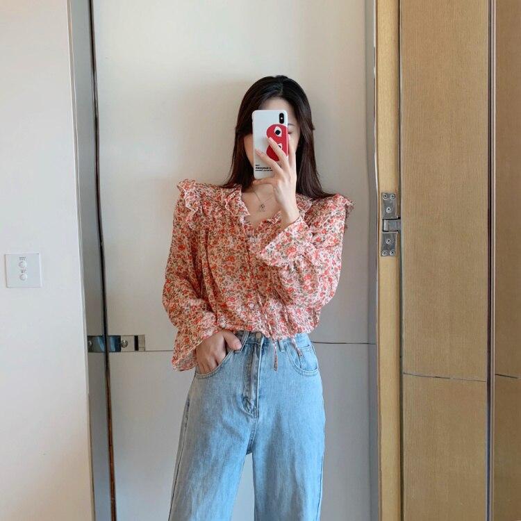 Potargane bluzki koszule damskie góry śliczne koreański styl  JszR4