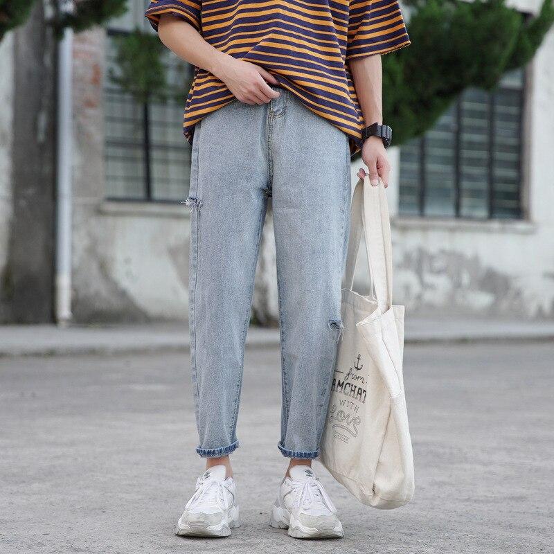 Super Fire CEC Straight-Cut Jeans Men's INS Hong Kong Style Versatile Loose-Fit With Holes Pants Korean-style Trend Capri Pants