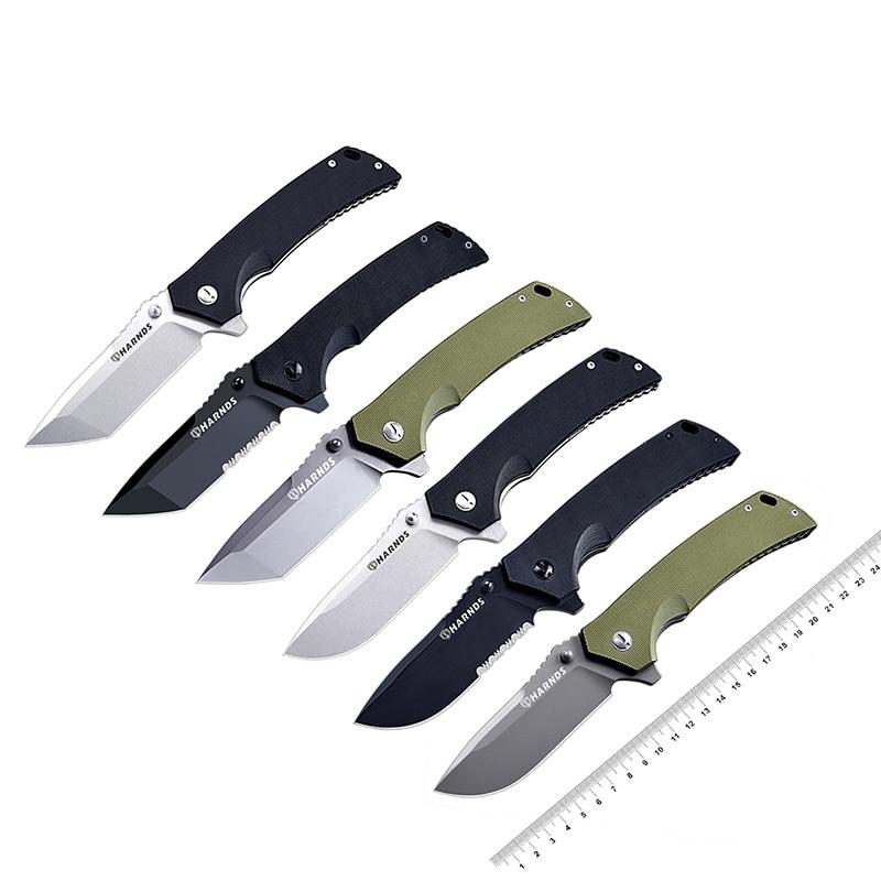 Cuchillo plegable táctico HARNDS Warrior/General, herramientas para exteriores, hoja de acero D2, mango G10 con funda de nailon balístico duradero