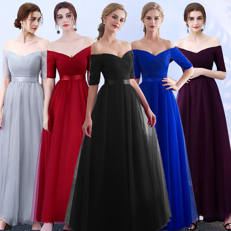 Purple Bridesmaid Dress Red Wedding Guest Dress Elegant Tulle Vintage Sister Party Royal Blue Long Dress Ladies Long Gowns Black